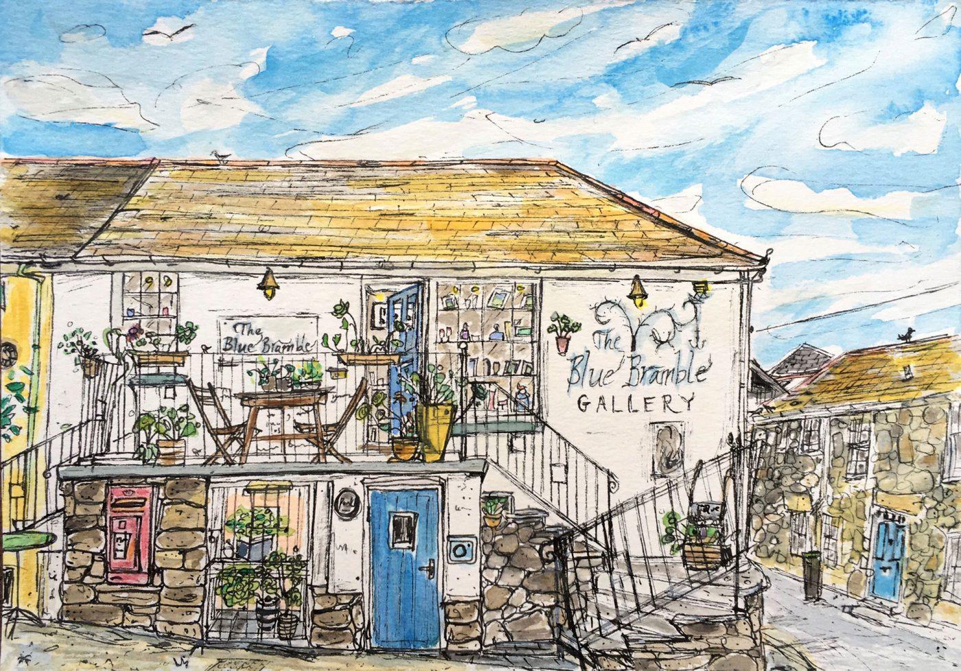Rowena Scotney Blue Bramble Sketch