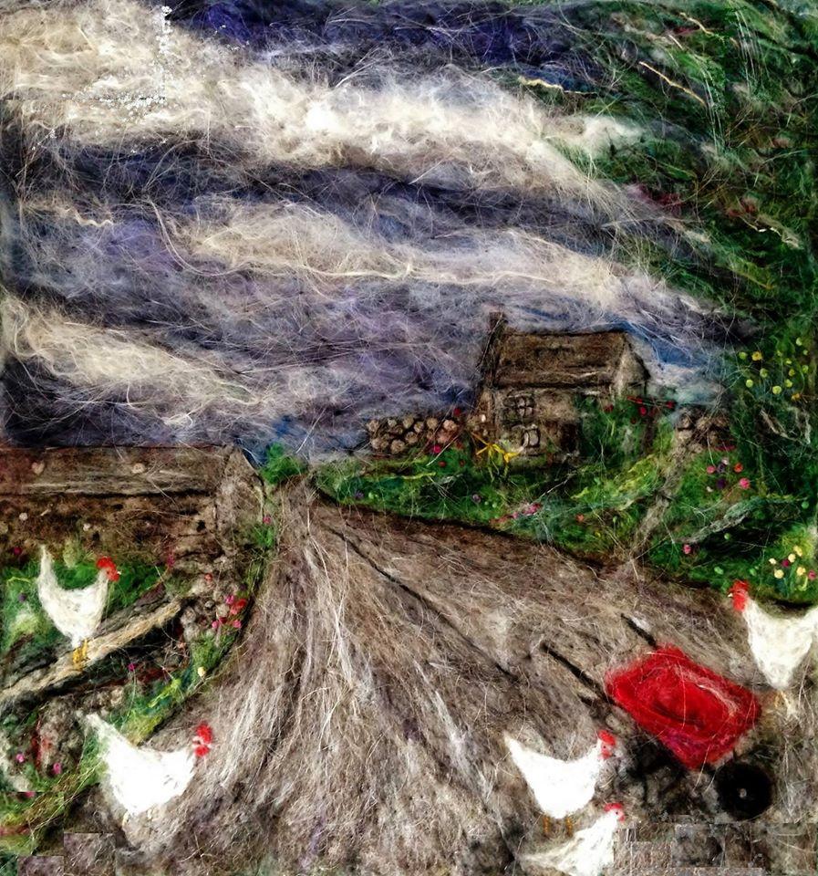 Rowena Scotney felting red wheelbarrow