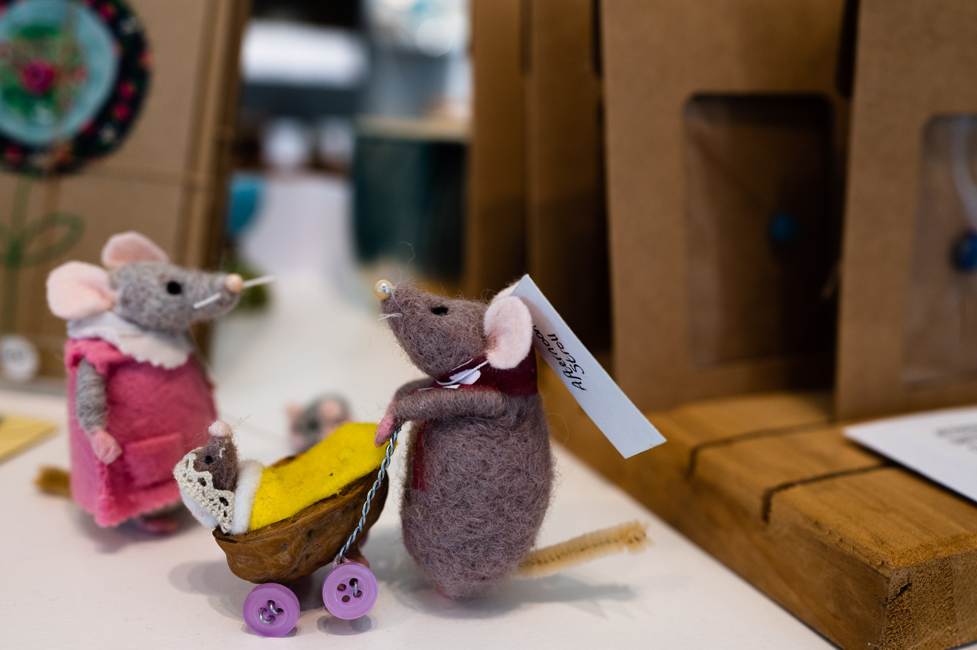 Blue Bramble Gallery St Ives felt mouse figures - afternoon stroll