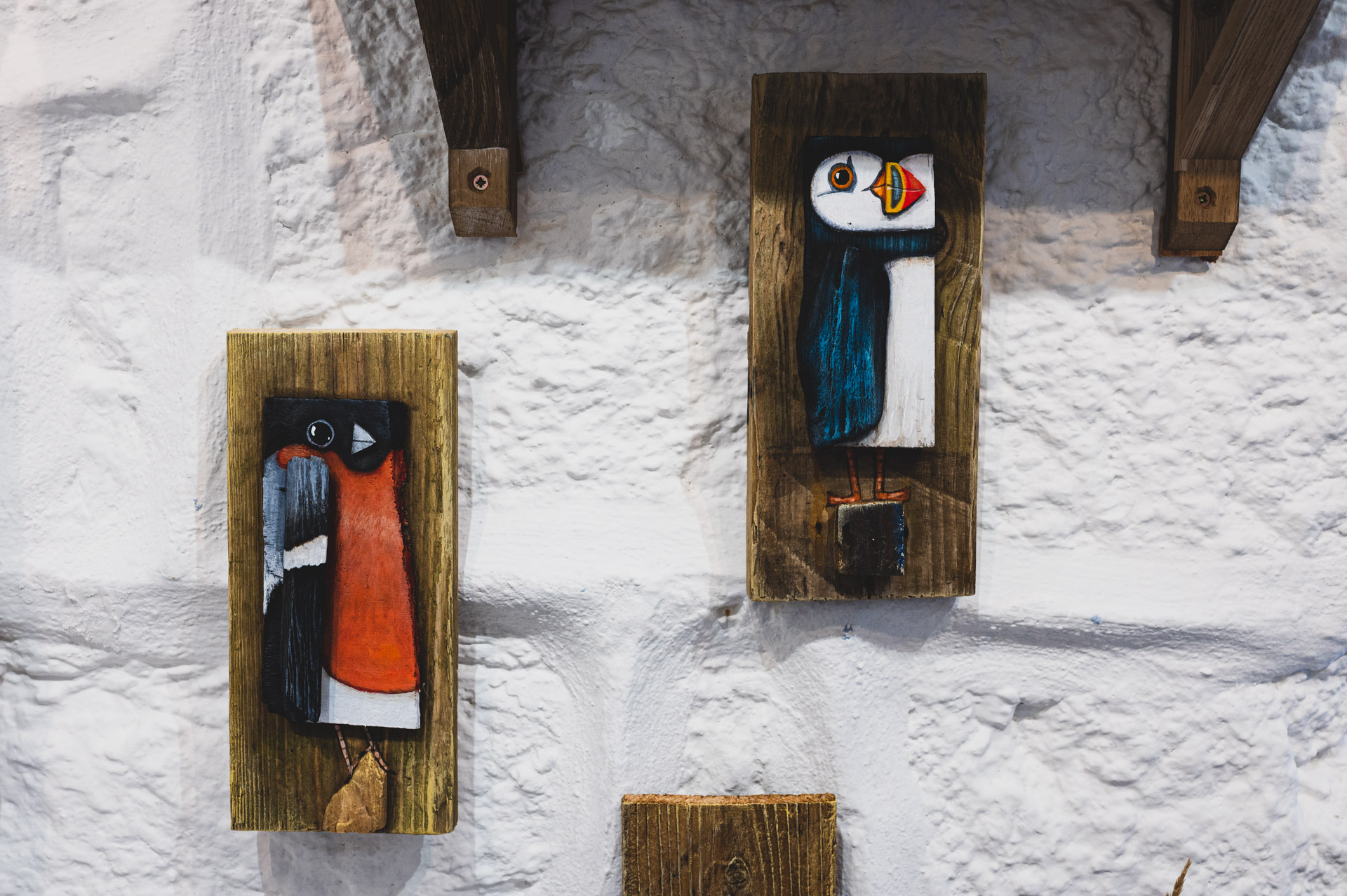 Blue Bramble Gallery St Ives puffin art wall hanging